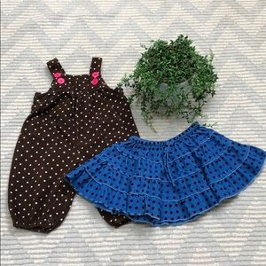 Girls overalls + skirt bundle